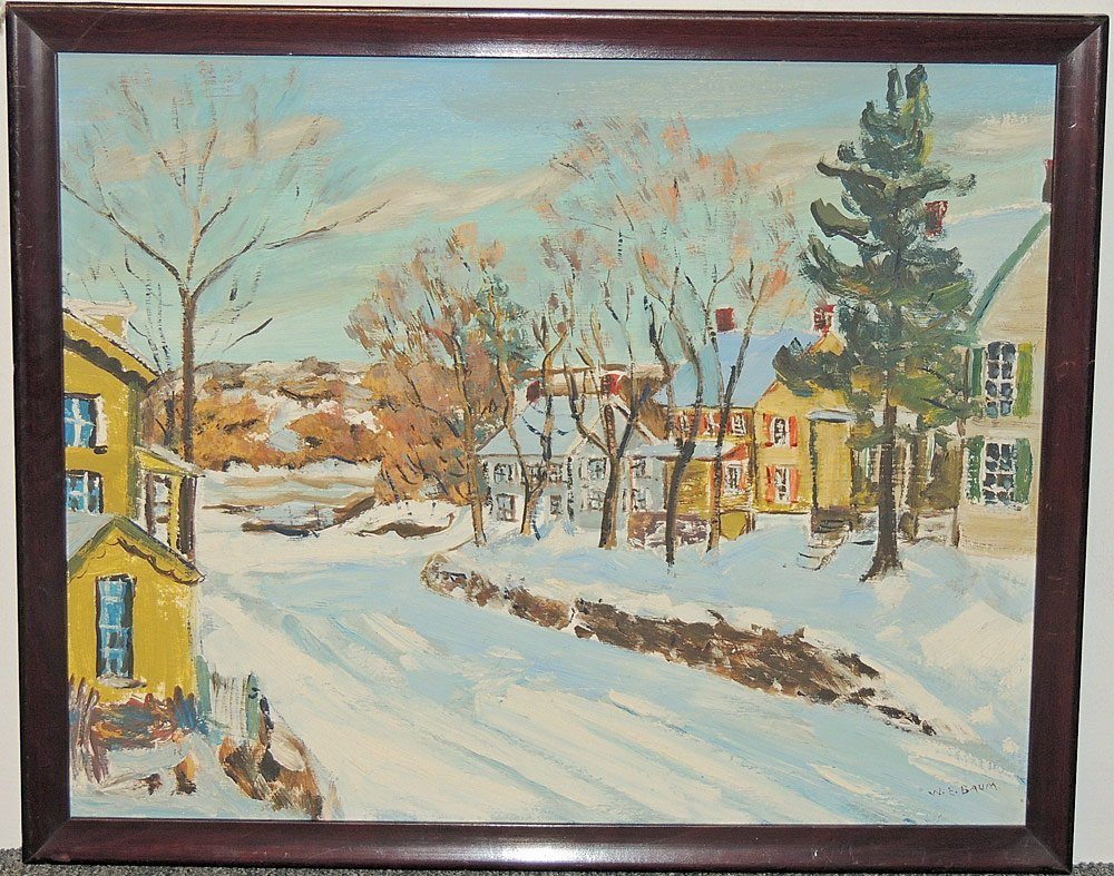 Walter Emerson Baum Oil on Panel, Riegelsville