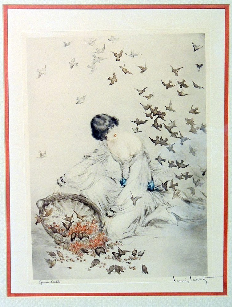 Signed Louis Icart Lithograph, Woman with Birds - 2