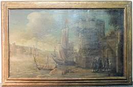 Continental School Oil on Canvas, Harbor Scene