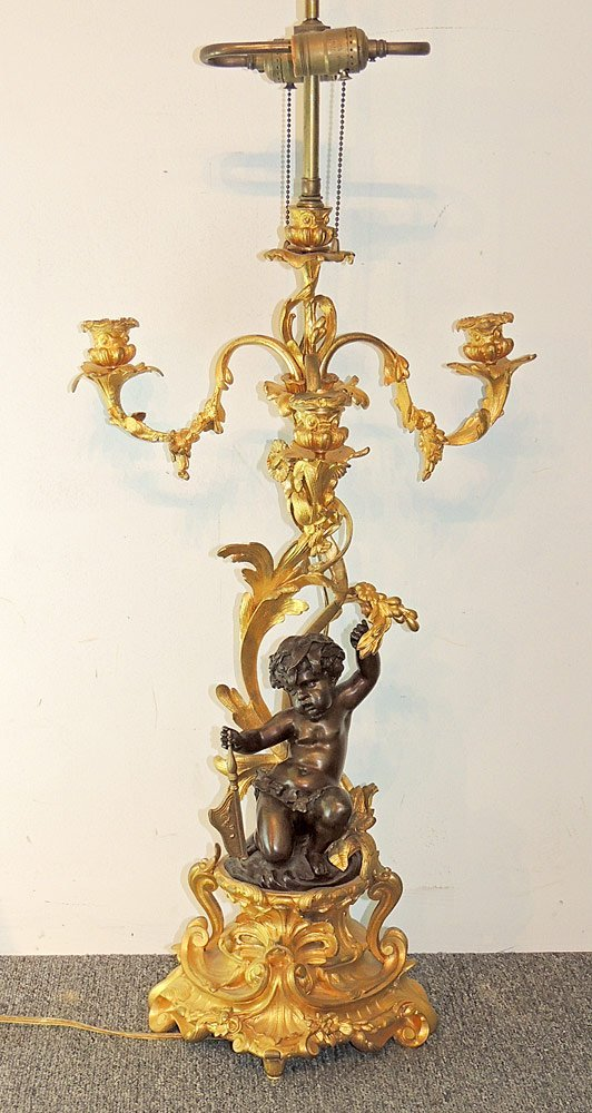 French Gilt and Patinated Bronze Candelabra Lamp