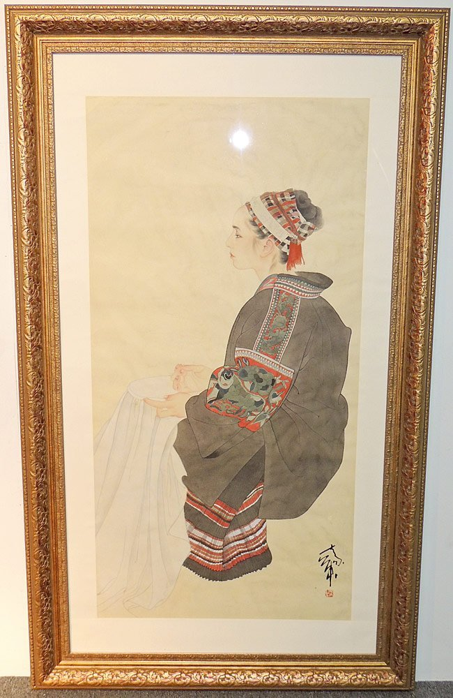 Large Chinese Watercolor, Portrait of Woman