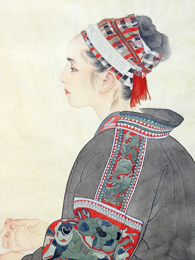 Large Chinese Watercolor, Portrait of Woman - 2