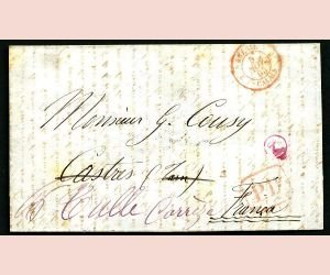 2: BRAZIL, Mi #21, cifers, 280 R., cover to France 1865