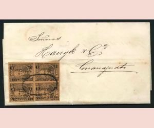 9: MEXICO, SG 67, Mi #49 6 C. block of four, on cv 1870