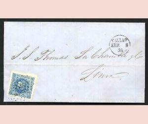 12: PERU, Mi #3, CALLAO to LIMA 1858