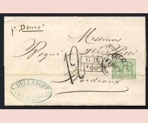 16: URUGUAY, Mi #29, 10 C., cover to Bordeaux 1873