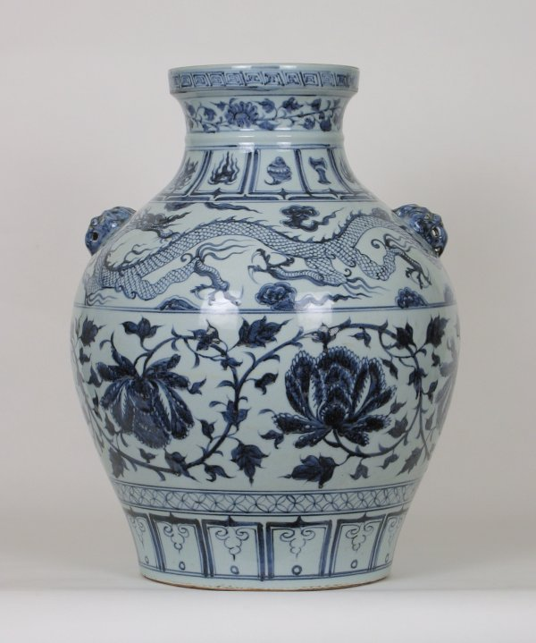 003: B&W Porcelain Jar Dragons Peony, Yuan