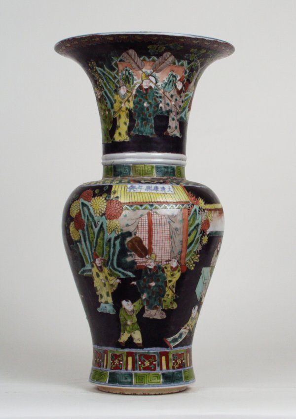 005: Famille Noire Vase Court Scenes Kangxi Mark&P