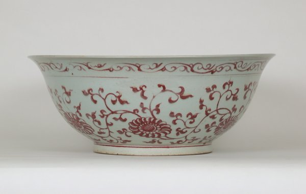 012: Copper Red&White Bowl Floral, 18thC,