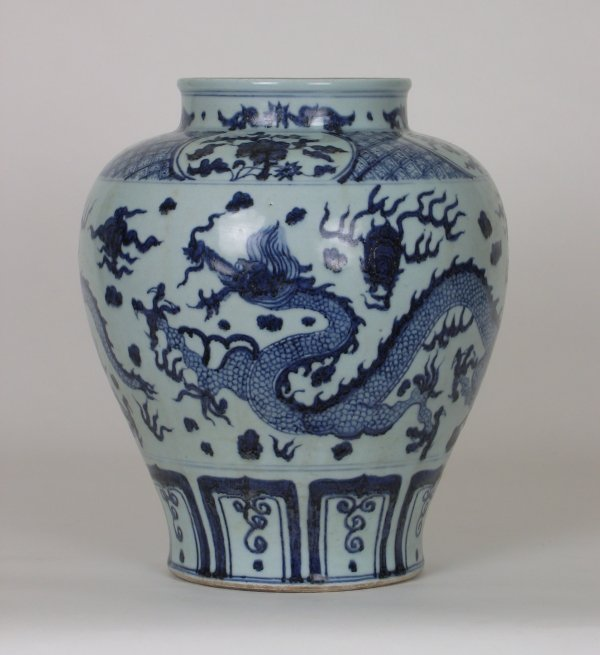 015: Big B&W Porcelain Jar w Dragon, Yuan,