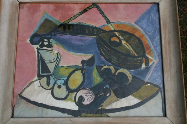 208: Abstract Oil under Glass Painting signed