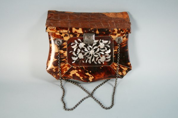 219: Vintage Tortoise Shell Mother of Pearl Purse