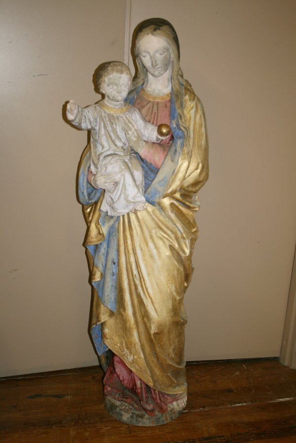 223: 19th C Life Size Carved Wood Madonna