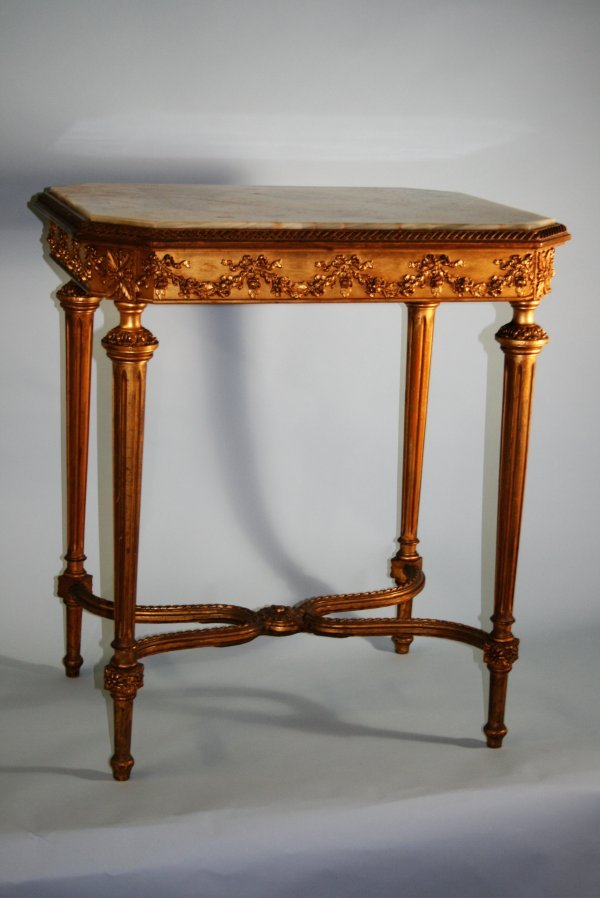 227: 19th C Onyx Fancy Carved Gilt Table