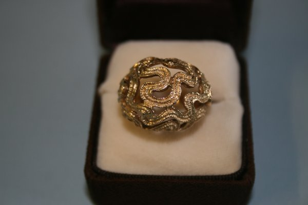 232: 14Kt Gold Modernist Ring