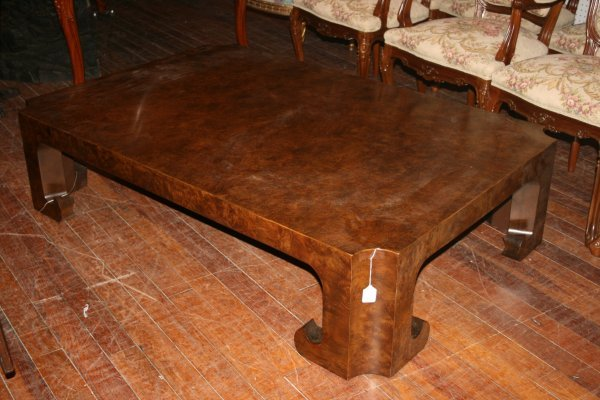 386: Burled Walnut Bakers Coffee Table