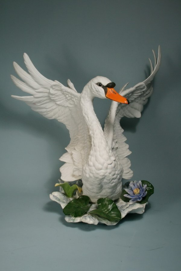 "001: Large Boehm Swan With Open Wings 16'H x 14""W"