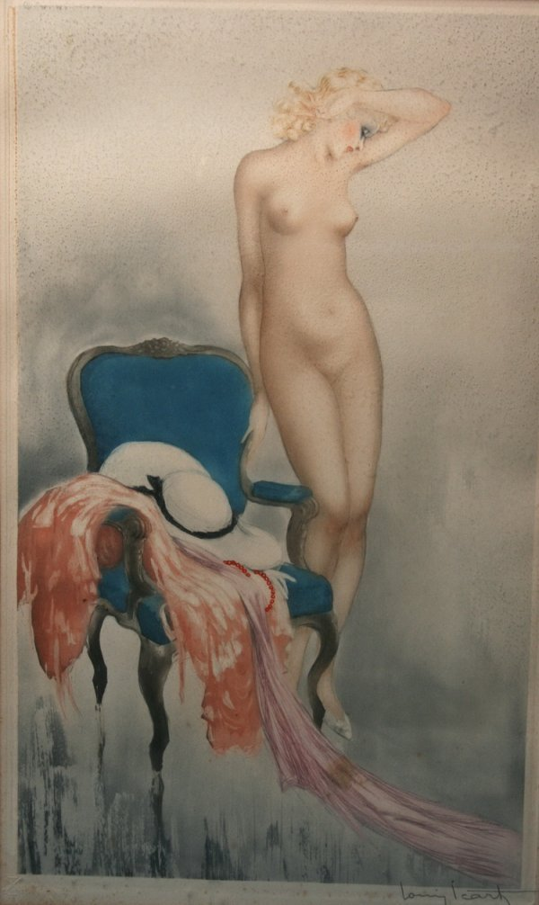"003: Louis Icart Colored Drypoint etching 20"" x 12"""