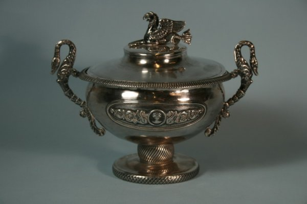 010: 18thc Ornate Silver Bowl with Griffin Finial
