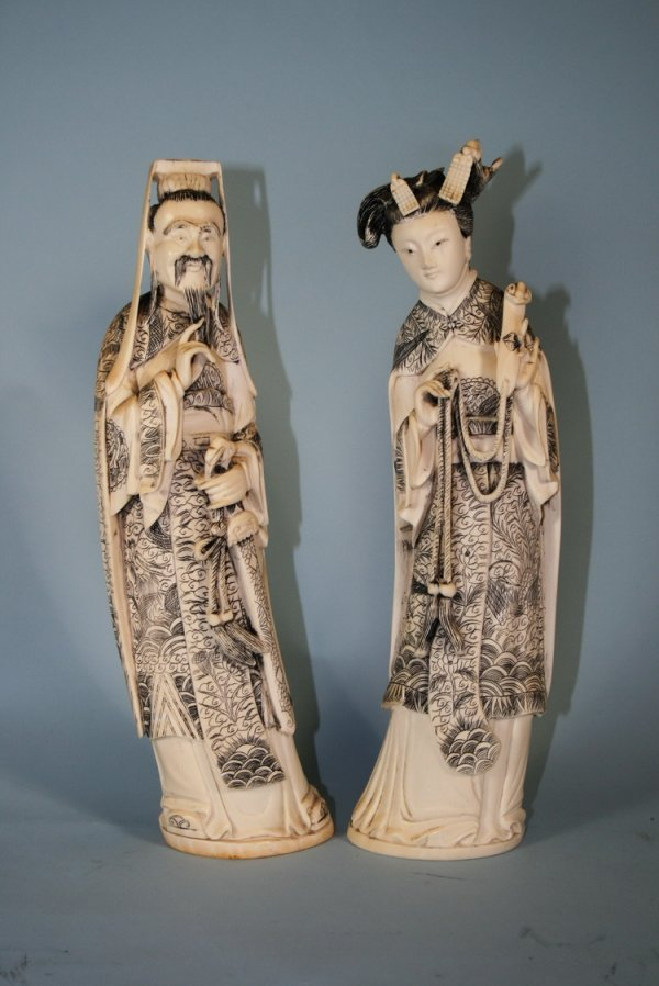 016A: Pair/Carved Ivory Chinese Emperor/Empress