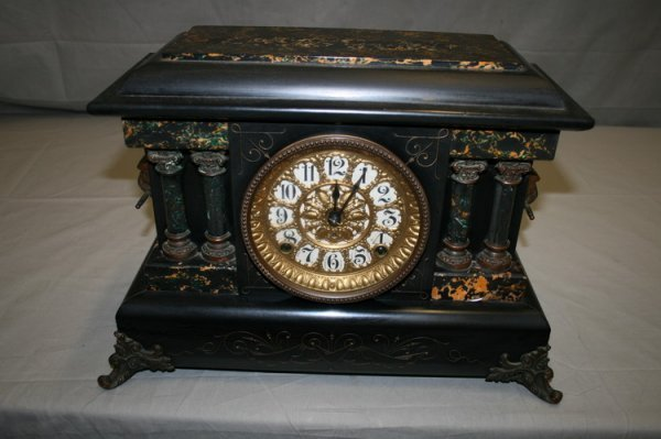 407: Black Ebonized Wood Mantle Clock
