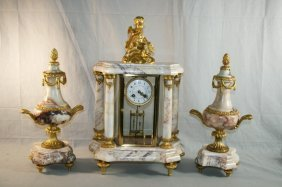 3: Gilt Metal And Marble French Clock/Garniture