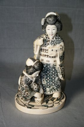 Ivory Figural Group Of Geishas