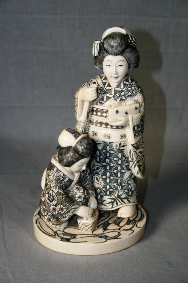 10: Ivory Figural Group of Geishas