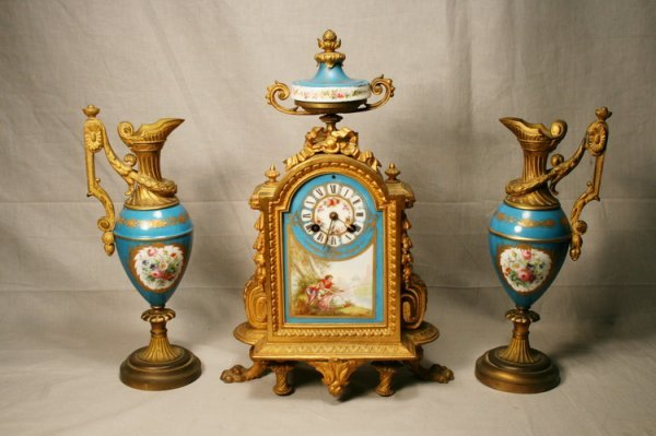 15: Sevres Gilt Porcelain Clock and Garniture