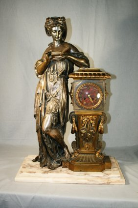 19: 19thC French Silvered/Gilt Bronze Clock