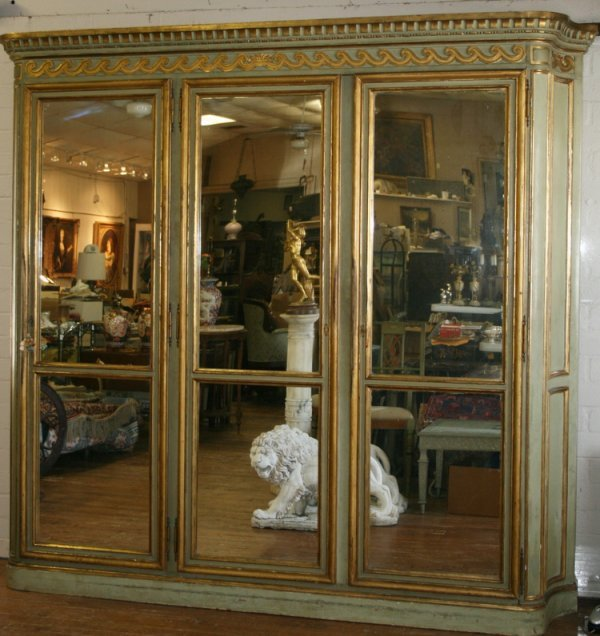 404: 19thc Italian Painted Gilded Armoire
