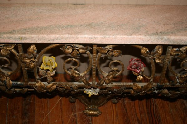 409: Wrought Iron Marble Console Table
