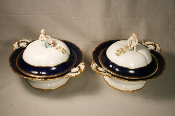 410: Pair Of Meissen Covered Casseroles
