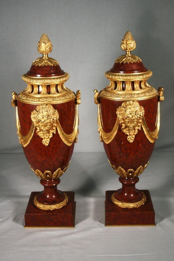 1: Pair of Napoleon  III Ormolu-Mounted Marble Urns