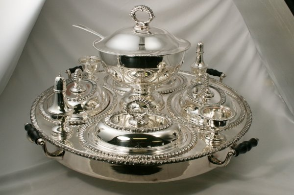 2: Silver Plated Lazy Susan Serving Center Tray