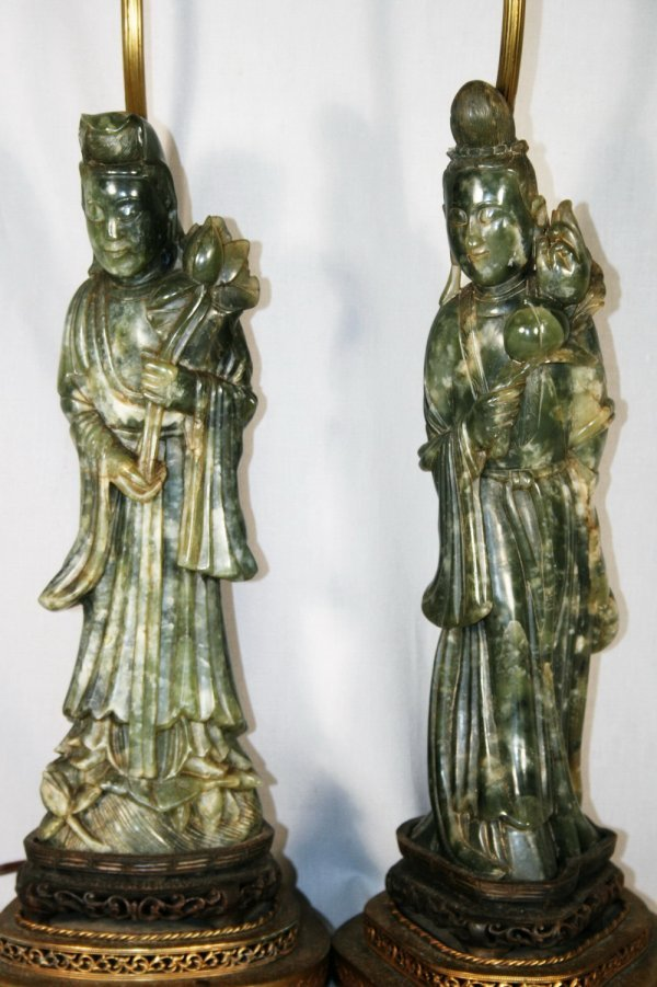 4: Pair of Jade Chinese Figures of Quan Yin
