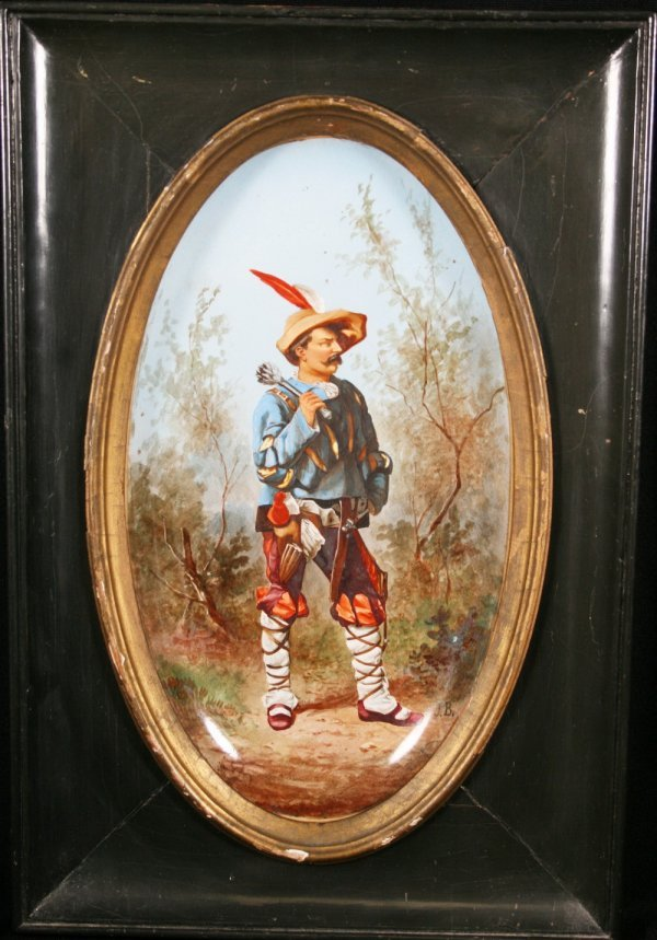 8: Choisy Porcelain Painted Plaque of A Gentleman