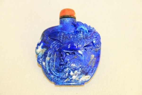 9: Intricately Carved Chinese Lapis Snuff Bottle