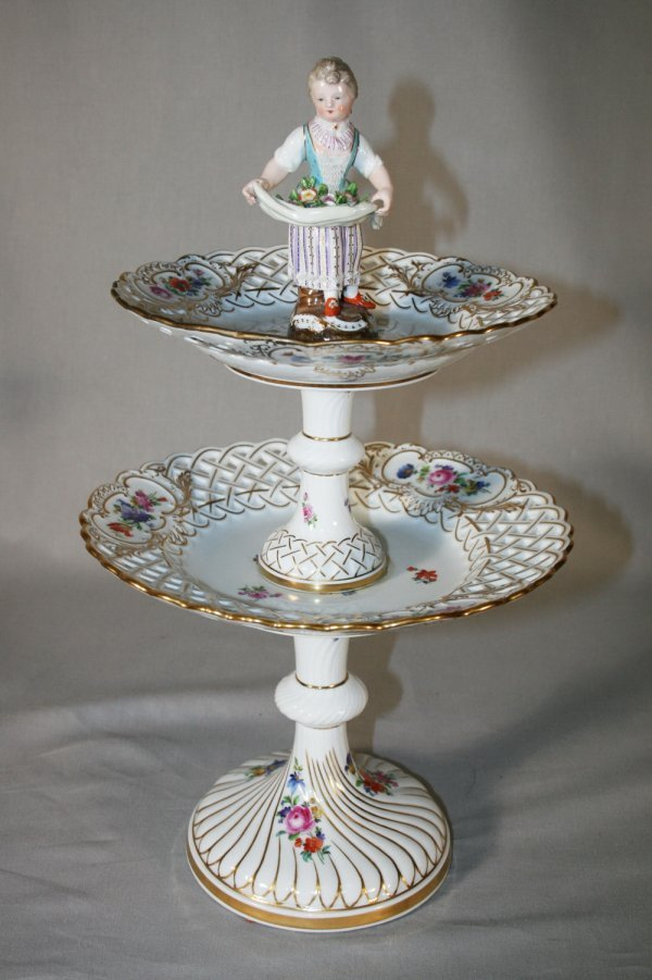 11: 19thc Meissen Two-Tier Figural Compote