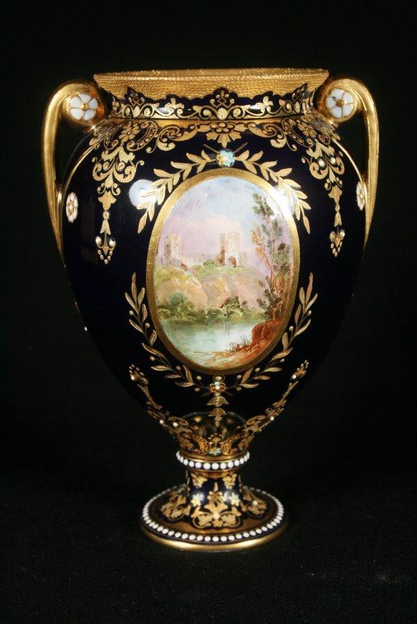 12: Cobalt Blue Coalport Enameled Vase
