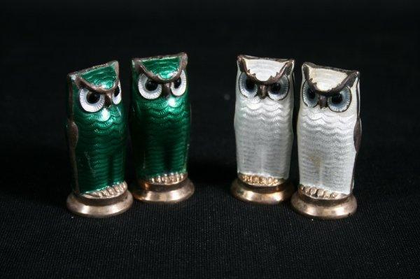 15: Two Pair David Andersen Sterling Enamel Owl Shakers