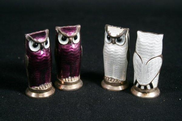 17: Two Pair David Andersen Sterling Enamel Owl Shakers