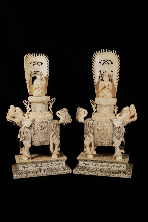 18: Pair of Intricate Chinese Ivory Figures of Foo Lion