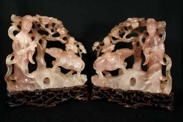 21: Pair Chinese Rose Quartz Figural Groups
