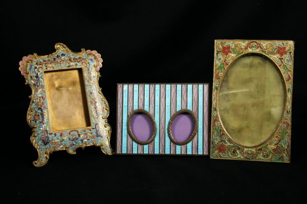 23: Enamel/Silver, Bronze Champleve Picture Frames
