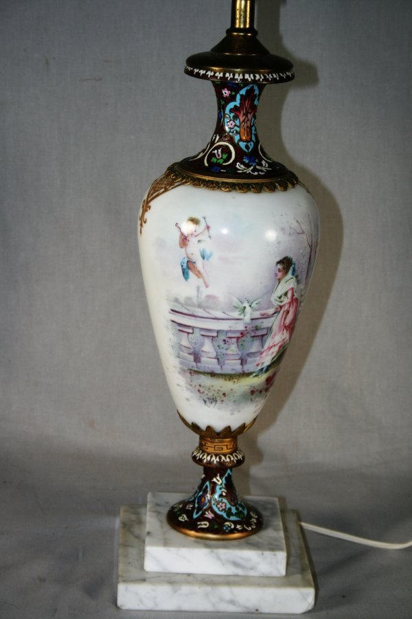 409: Sevres and Champleve Table Lamp