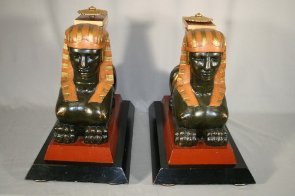 414: Pair Of 19thc Egyptian Carved Wood Sphynx