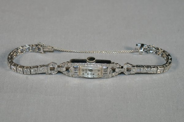 415: Art Deco Platinum and Diamond Ladies Watch