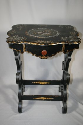 One-Drawer Victorian Paper Mache Table