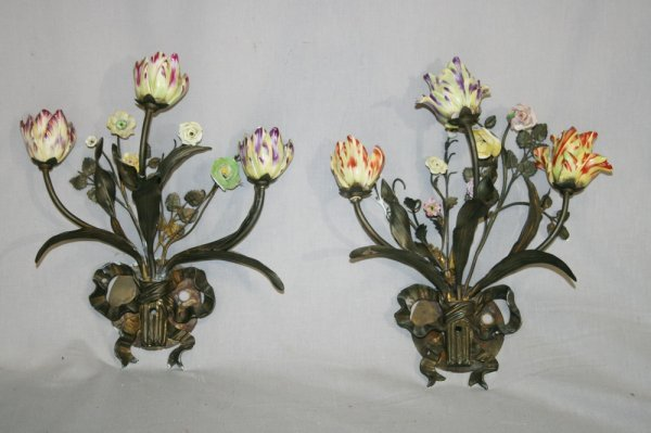 449: Pair of Bronze And Porcelain Floral Sconces